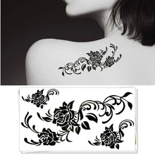 Sexy Black Rose Temporary Tattoo Body Art Flash Tattoo Sticker Waterproof Adult Products Car Styling Henna Tatoo Wall Sticker