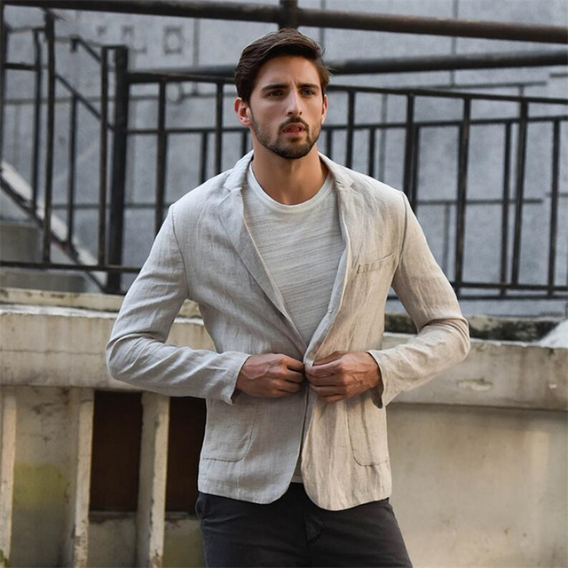 fdede884b3e LFF 2018 New Arrival Men Fashion Spring And Autumn Slim Fit Linen Suit Male  Casual Jacket Business Suits China Imported Clothing