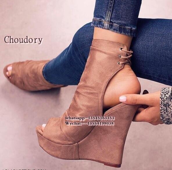 Schuhe Frauen Schuhe Nett Einfarbig Plattform Weibliche Schuhe Offene Spitze Frauen Sandalen Keile Sandale