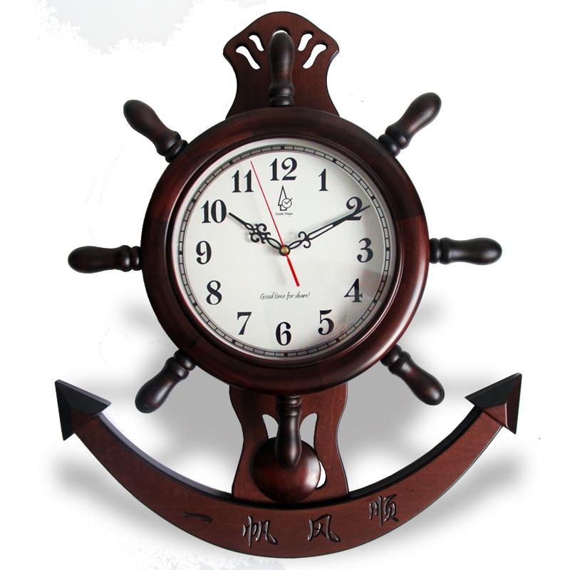 mute wood wall clock pendulum clock chinese sailing style vintage wood movement quartz clockchina - Pendulum Wall Clock