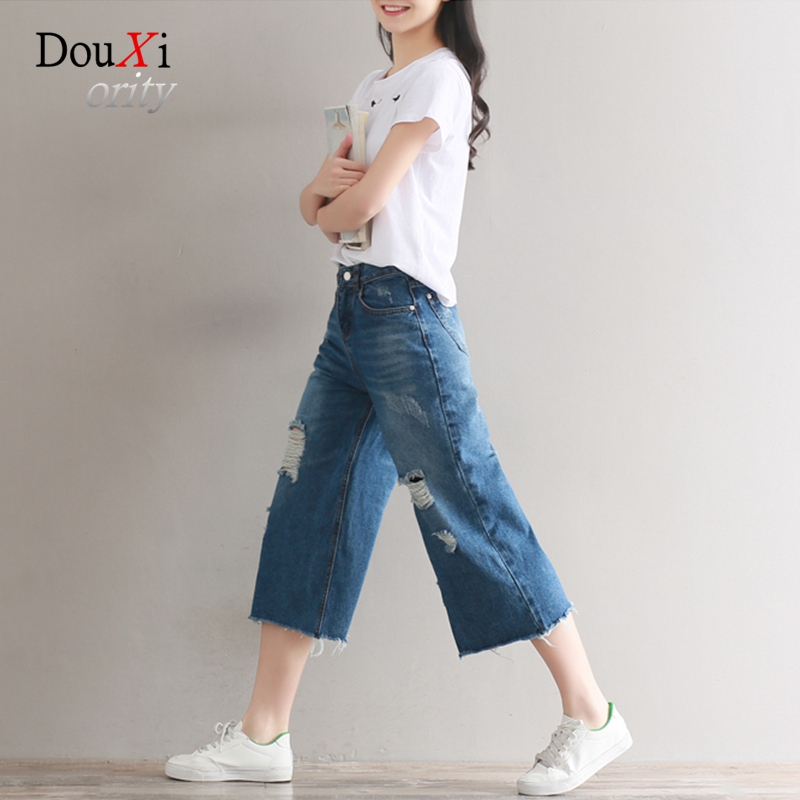 Summer Fashion New Wide Leg Jeans Loose Large Pluse Size 3XL Calf-length  Ripped Holes Distressed Classic Denim Casual Pants hot new large size jeans fashion loose jeans hip hop casual jeans wide leg jeans
