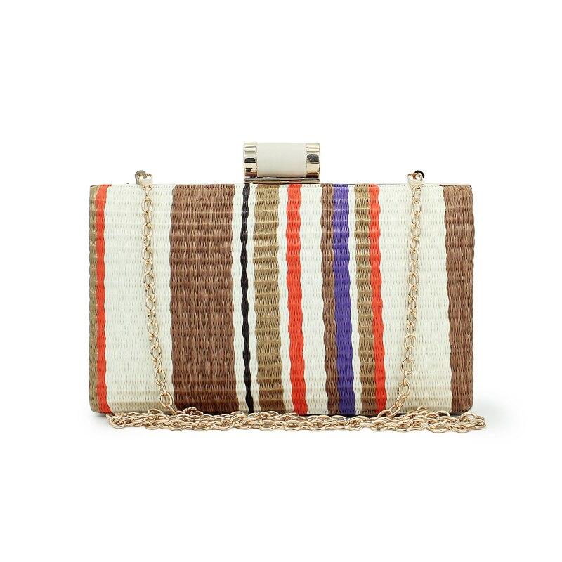 b382e66e4c colorful clutch chain women's straw weave clutch multi women handbags gold  chain lady bags(C528)