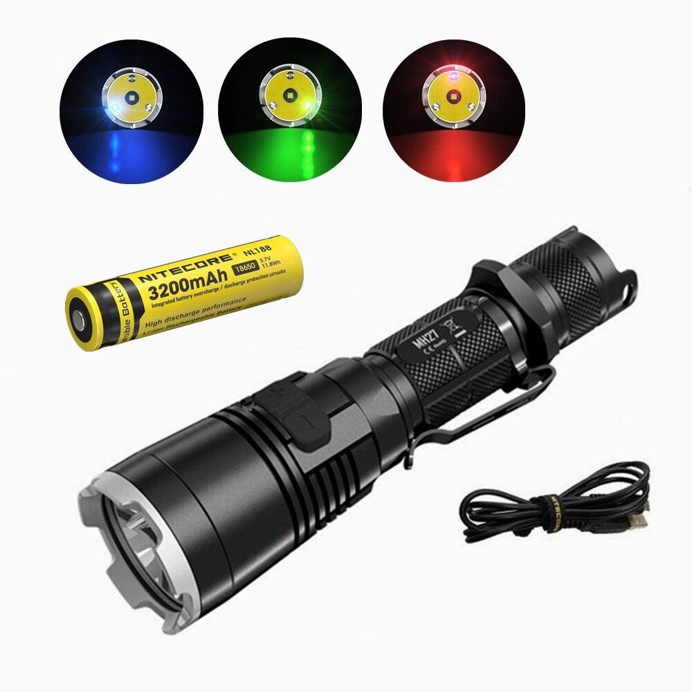 Nitecore MH27 фонарик с nitecore NL188 18650 3200 мАч батарея XP L HI V3 светодиодный 1000LM RGB светодиодный повышенной яркости факел Водонепроницаемый