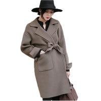 2016 Autumn Winter New Korean Loose Wool Coat Women Medium Long Women Winter Blends Jacket casaco feminino poncho AE1736