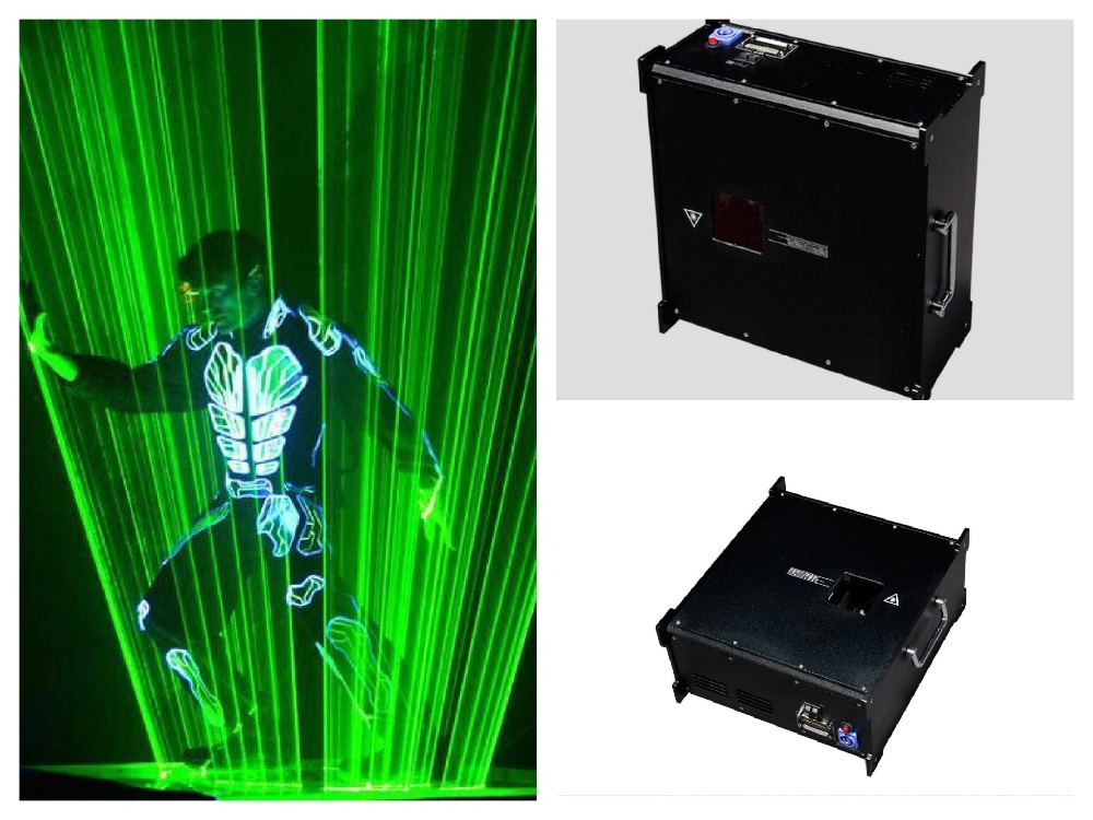 flightcase+Laser man green 2w laser beam show system laser dance light disco dj club party concert wedding entertainment bar