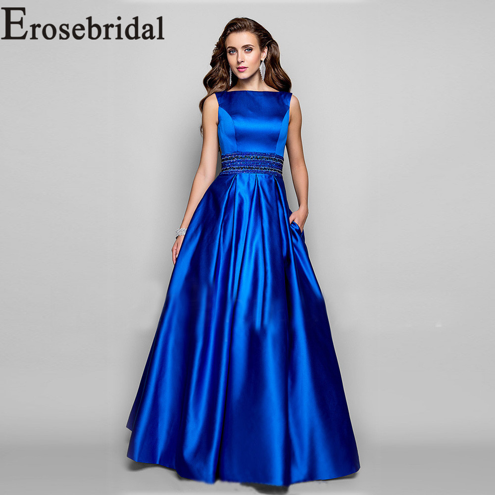 Vestido de noche de satén azul real Vestido largo de fiesta con cuentas vestidos de noche formales para mujer 2019 bata de noche