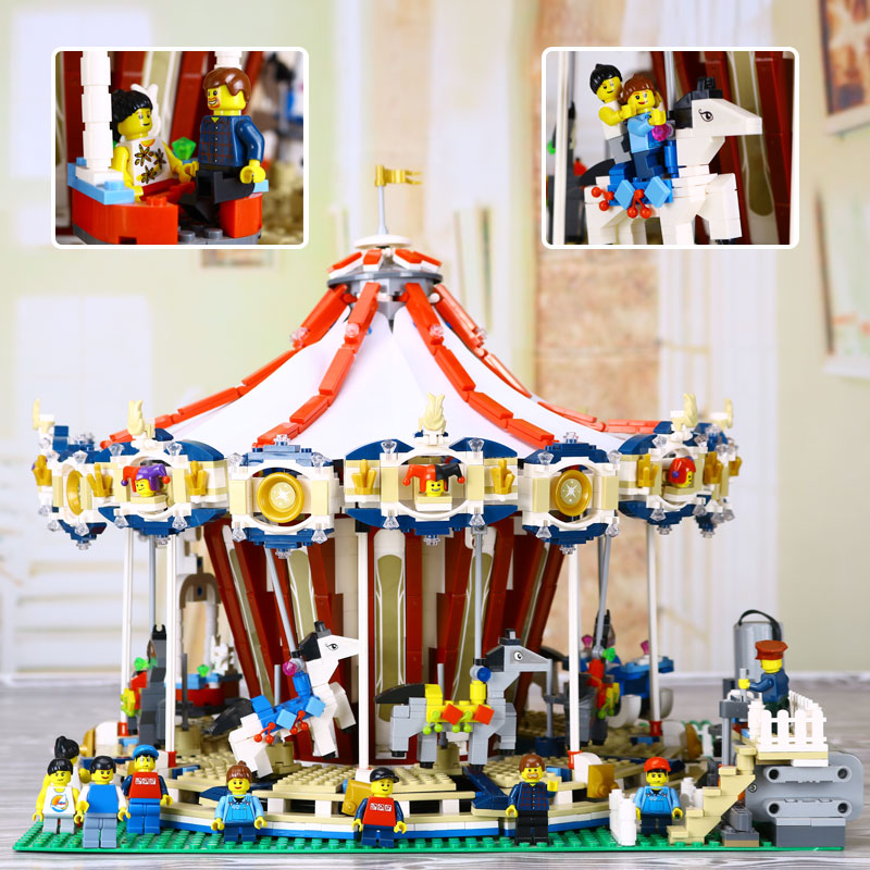 New Lepin 15013 City Street Carousel Model Building Kits Assembling Blocks Toy Compatible legoed with 10196 Educational toys new lepin 16008 cinderella princess castle city model building block kid educational toys for children gift compatible 71040