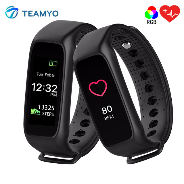 TEAMYO L30T RGB Smart Fitness Bracelet Bluetooth Smart Band Heart Rate Activity Fitness Tracker For IOS Android PK Miband2 ID107