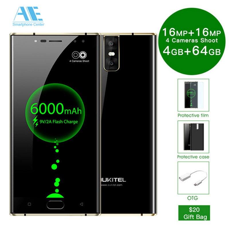 Oukitel K3 5,5 FHD 4G RAM 64g ROM 4 Камера смартфон 6000 мАч Батарея mt6750t восемь ядер Android 7,0 4G LTE OTA OTG мобильного телефона