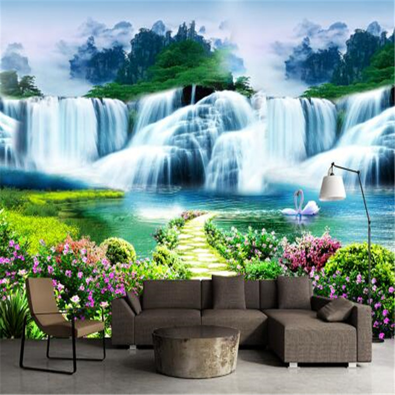 Custom 3D Photo Wallpaper Natural Mural Waterfalls Pastoral Style 3D Non-woven Straw Paper Wall Papers for Living Room Sofa Wall 3d wallpaper custom mural non woven cartoon animals at 3 d mural children room wall stickers photo 3d wall mural wall paper