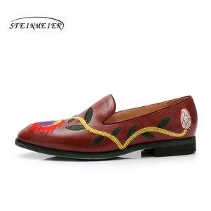 Image 3 - Yinzo mieszkania damskie Oxford buty kobieta prawdziwej skóry slipon panie Brogues Vintage obuwie obuwie damskie 2020