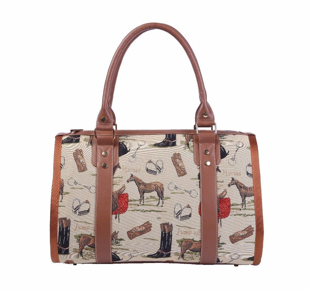 VKYSTA Women Men Jacquard Luggage Horse Animal Prints Travel Duffle Business Travel Bag Portable Travel Totes Fashion Large 605 цены