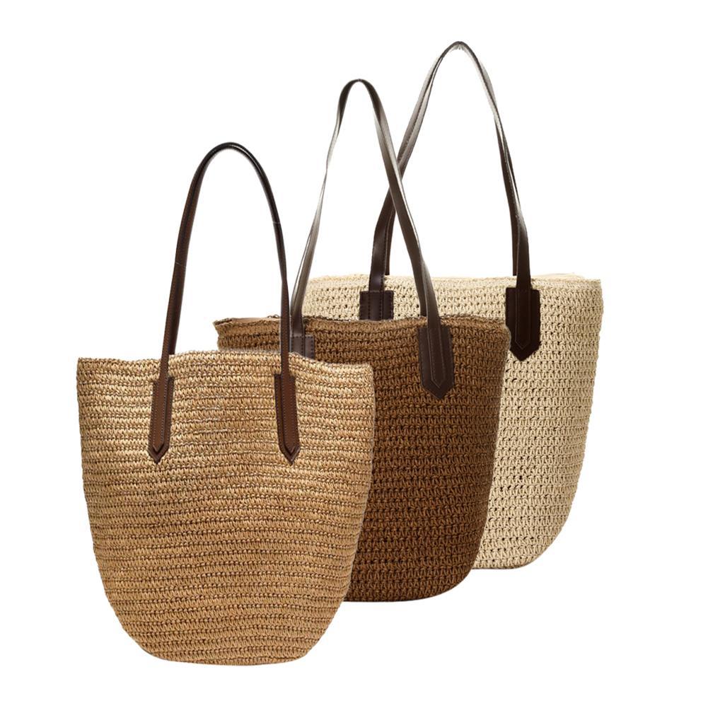 3 Geweven Handtas Natuurlijke Handgemaakte Tas Zak Pu Strand Outdoor Tassen Gevlochten Kleuren Vrouwen Merk Nieuwe Stro Lederen Modieuze NOvm0w8n