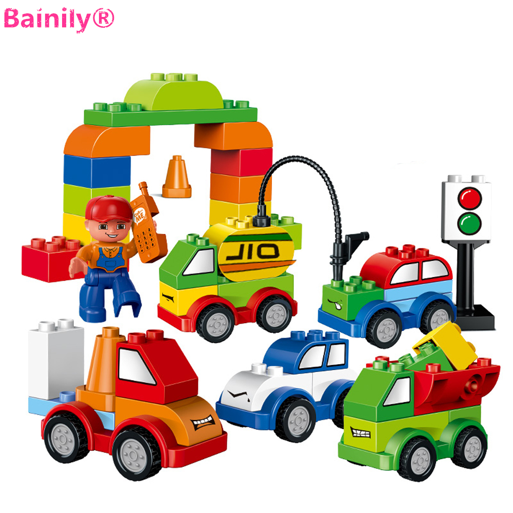 [Bainily] 52pcs Creative Cars Variety of Car Story Building Blocks Bricks Baby Toys Gifts Compatible With LegoINGly Duplo building blocks fire story compatible with diy toys creative educational xmas duplo 65pcs classic toys educational baby toy