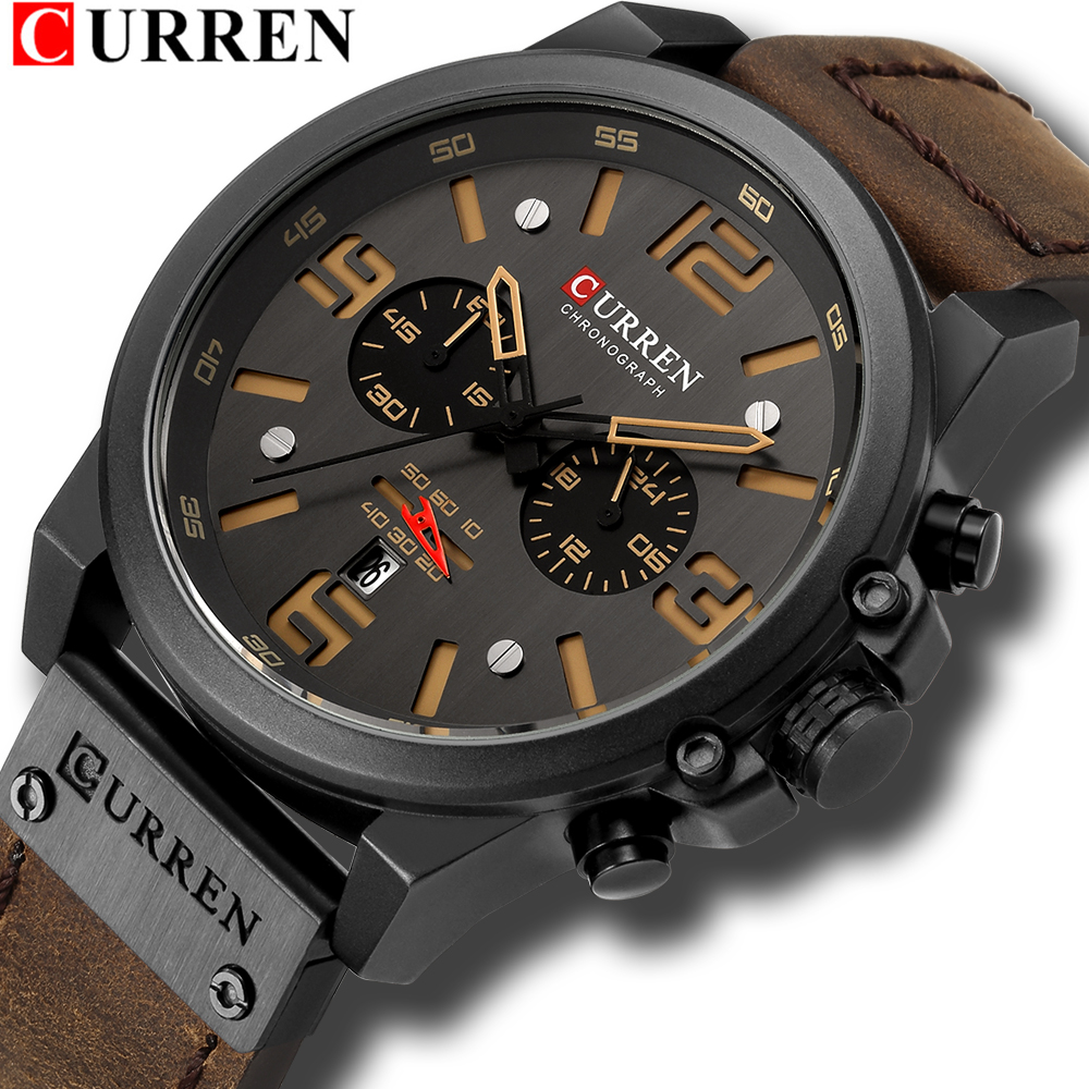 CURREN Mens Watches Top Luxury Brand Waterproof Sport Wrist Watch Chronograph Quartz Military Genuine Leather Relogio Masculino title=