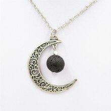 La Media Luna collar con pendiente de Luna 14mm de Lava natural bolas de piedra Vintage antiguo aceite esencial de Perfume difusor de aromaterapia collar