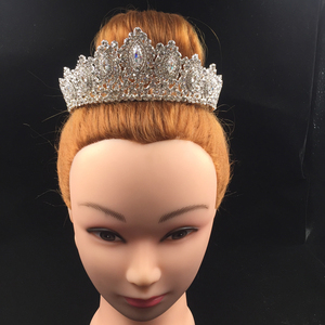 Image 5 - Hadiyana New AAA Rhinestone Crowns Vintage Style Big Eye Shape Wedding Accessories Bridal Hair Tiaras Yellow Gold Party BC3707