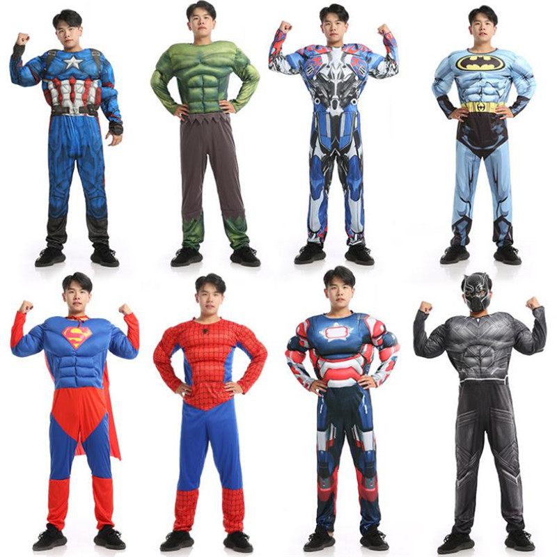 Superhero Captain America Superman Spider Man Black Panther Cosplay Muscle Set Christmas Party Halloween Costume For Men Adult
