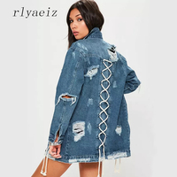 Rlyaeiz 2018 Spring Autumn Women S Long Sleeve England Style Jackets Ripped Single Breasted Sexy Cut