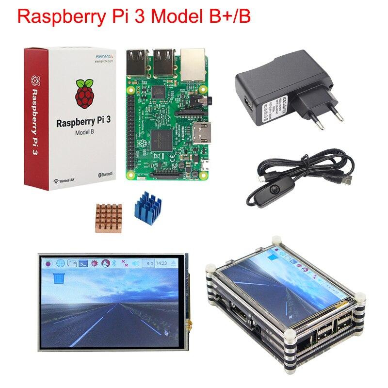 Raspberry Pi 3 B+ Plus Starter Kit Raspberry Pi 3 + 3.5 inch Touchscreen + 9-layer Acrylic Case + 2.5A Power Supply + Heat Sink original uk raspberry pi 3 starter kit abs case 2 5a power supply adapter aluminum heat sink for raspberry pi 3 model b