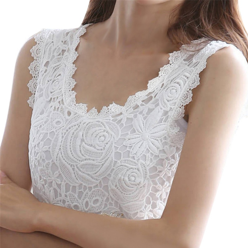 Sexy Lace Stunning Based Sleeveless Vest   Tank     Top   Tee T-Shirt Black White Solid Camisole Cami Shirt Slim Women   Tops