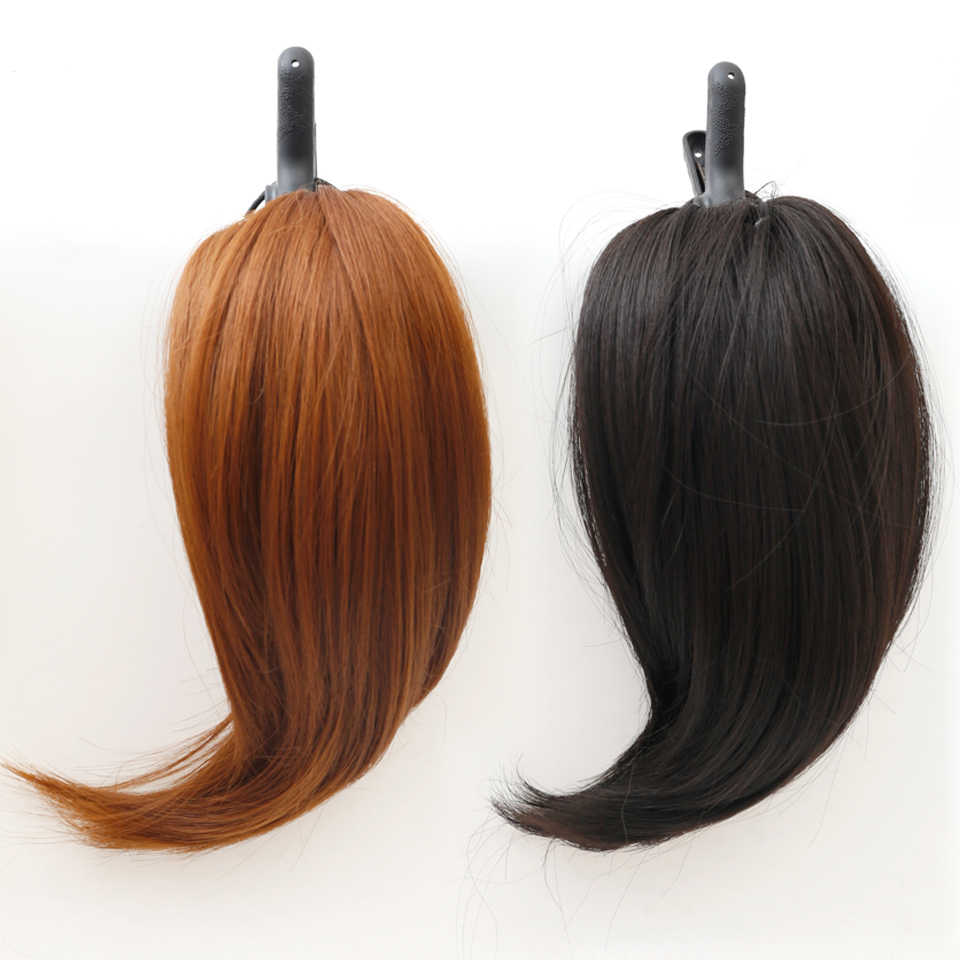 DIFEI 6 ''corta recta Cola de Caballo pelo Natural pinzas sintéticas Cola de Caballo extensión de cabello resistente al calor