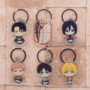 2019 Attack on Titan Keychain Double Sided Acrylic Key Chain Pendant Anime Accessories Cartoon Key Ring(China)