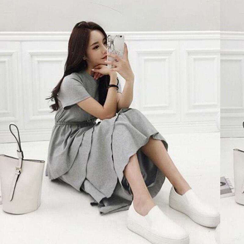 [MENKAY] 2018 spring new female temperament dresses college style small fresh waist was thin layered cake dress