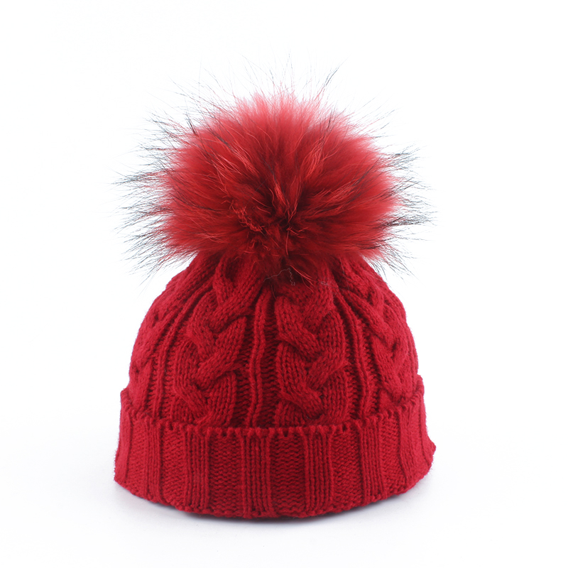 2019 New Kids Beanie Hat Baby Twist Knitted Cap Real Fur Pompom Hat Pompon Skullies Beanies(China)