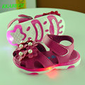 KKABBYII Toddler New Style Flowers Girls Sandals Lighted Soft-Soled Princess Baby Shoes