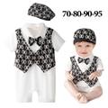 2016 новый летний ребенок галстук-бабочка детский комбинезон + hat infantil коротким рукавом bebes комбинезон мальчик день рождения танца детской одежды
