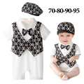 2016 new summer baby bow tie rompers+hat infantil short sleeve bebes jumpsuit baby boy birthday dance baby clothes
