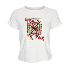 094f292b0 SOSHIRL Poker Embroidery T Shirts Queen of Hearts Funny White Tops Cool  Women Summer Streewear Basic