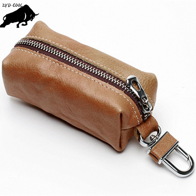 ZYD-COOL High Quality Key Holder Genuine Cow Leather Key Case Zipped Key Pouch Keychain Auto Car Key Cases Bag