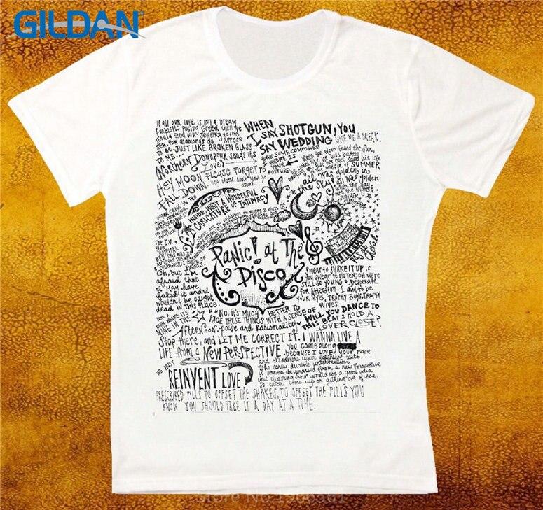 402f8685 Retro T Shirts Short Sleeve Top O-Neck Mens Panic At The Disco Band T