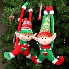OurWarm Christmas Decoration Elf Doll Plush Tree Hanging Ornament Merry New Year Kids Toys 2019 40x24cm