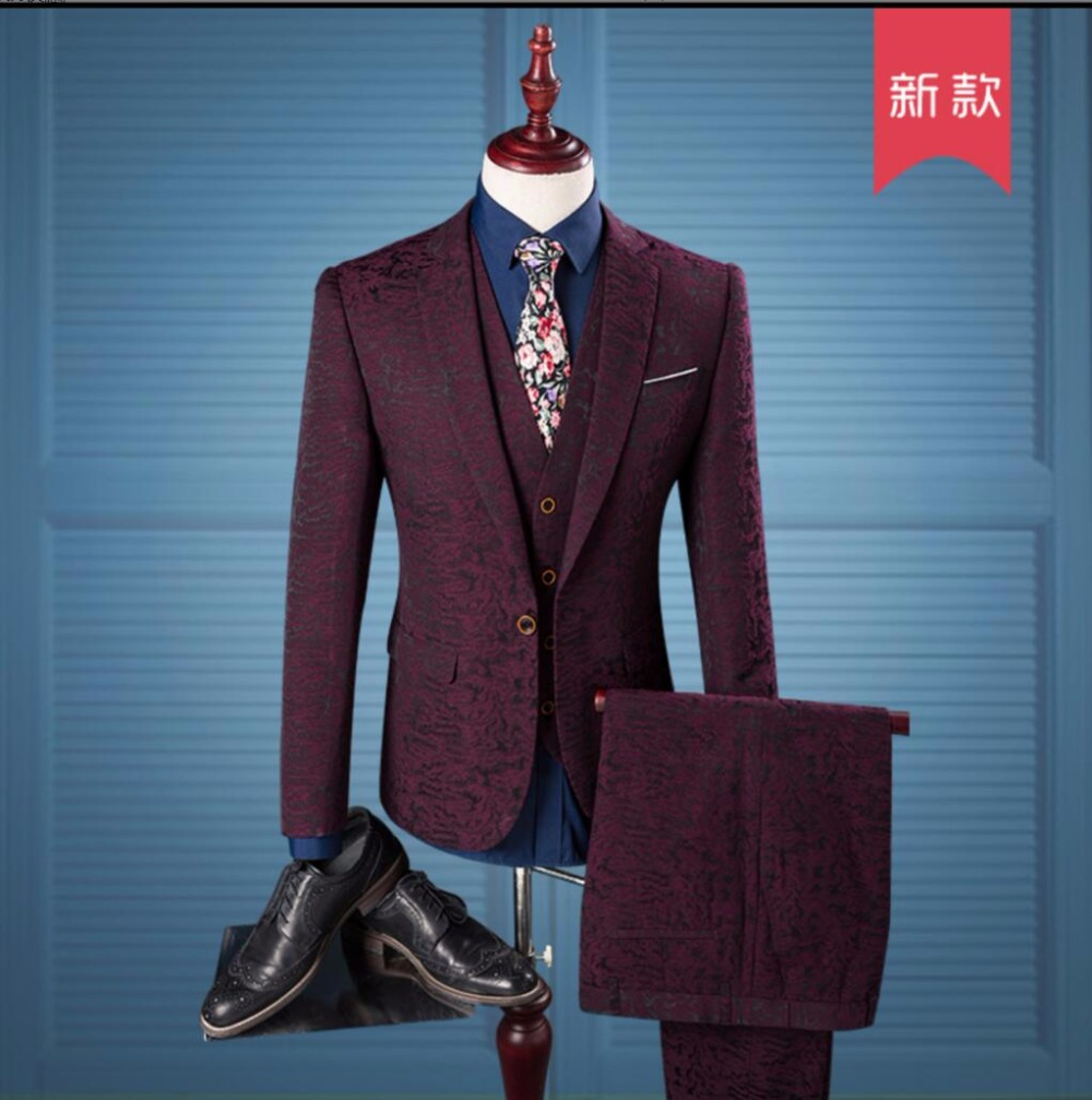 M 3XL New Men Print fashion decorative pattern Wine red suits ...
