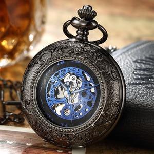 Image 5 - Luxury Retro Golden Hollow Skeleton Mechanical Pocket Watch Mens Fob Chain Steel Exquisite Sculpture Women Men Pocket Wath Gifs