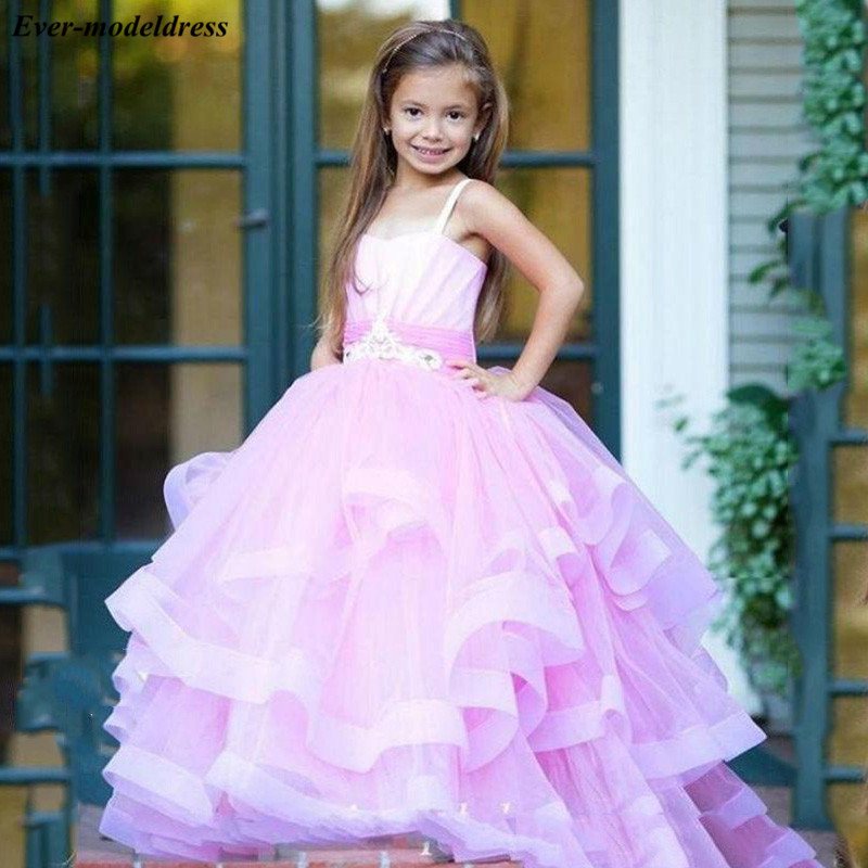 Pink Princess Tiered Ball Gowns   Flower     Girls     Dresses   Spaghetti Appliques Tulle   Girls   Pageant   Dresses   2019 comunione