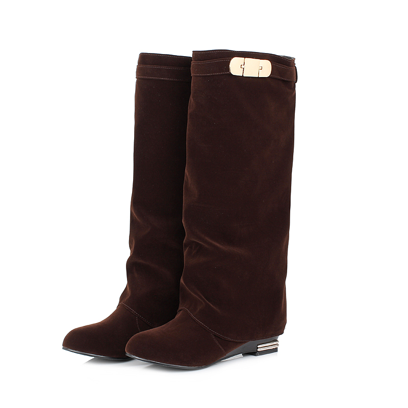 ARMOIRE New Sales  Plus Big Size 10 32 43 Winter Women Knee High Boots Black Red Brown Fashion Lady Riding Shoes Low Heel AY306 brand new fashion black yellow women knee high cowboy motorcycle boots ladies shoes high heels a 16 zip plus big size 32 43 10