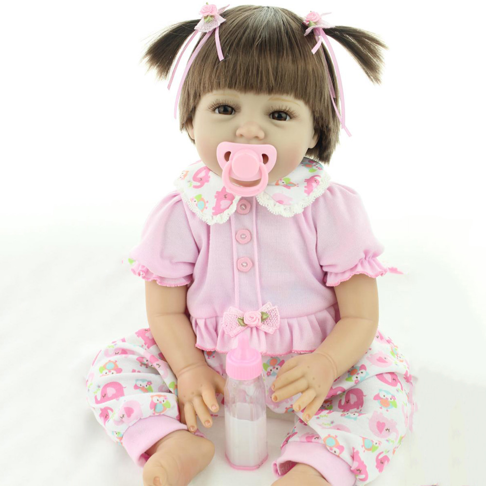 22 inch 55CM Reborn doll toys lovely pink baby Newborn baby soft silicone lifelike reborn babies