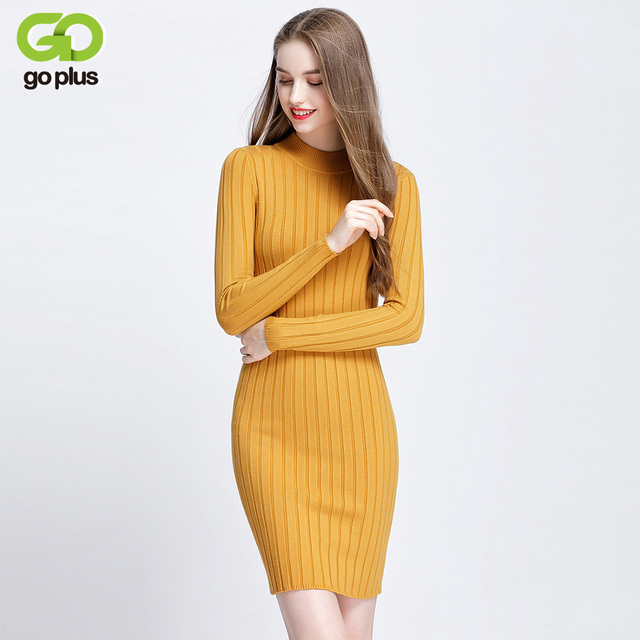 cca41b2c493 GOPLUS New Ribbed Knit Sweater Dress Spring Autumn Women Long Sleeves Mock  Neck Knitting Bodycon Mini Dresses C4778
