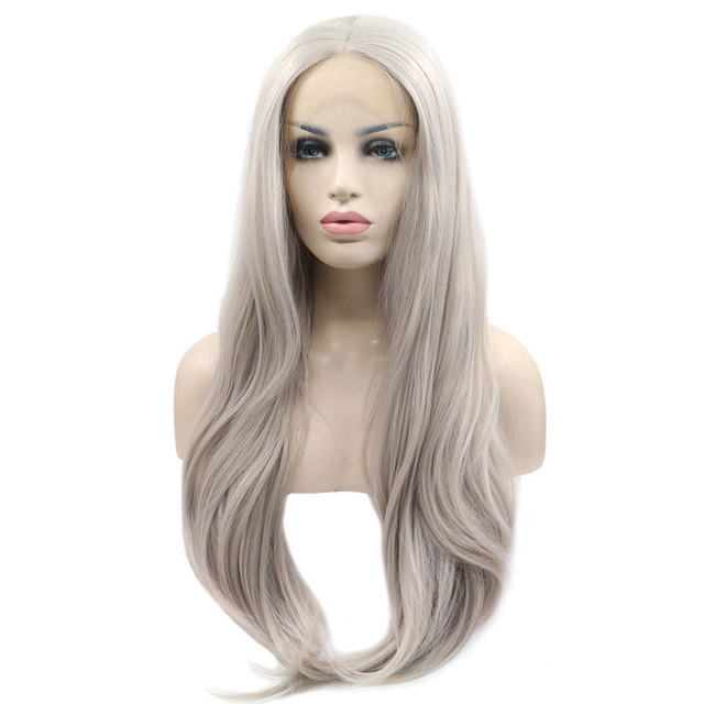 Bombshell Silver Platinum Grey Natural Wave Synthetic Lace Front