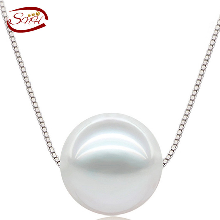 SNH 9 10mm design Natural Pearl Pendant Perfect Round White Freshwater Pearl 925 Sterling Silver pendant