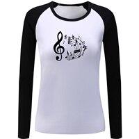 Music Note Design Print Raglan Long Sleeve Funny T Shirt Women S Girl S Ladies T