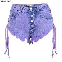 YiQuanYiMei Fashion Sexy Sandy beach Night Club Girls Low Waist Denim Thong Shorts Micro Mini Jeans Shorts Femme Womens JEAN