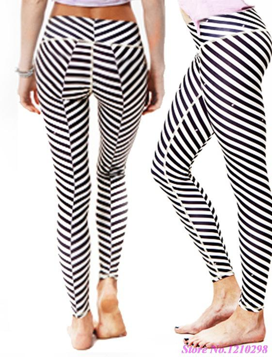 Striped Workout Leggings - Trendy Clothes