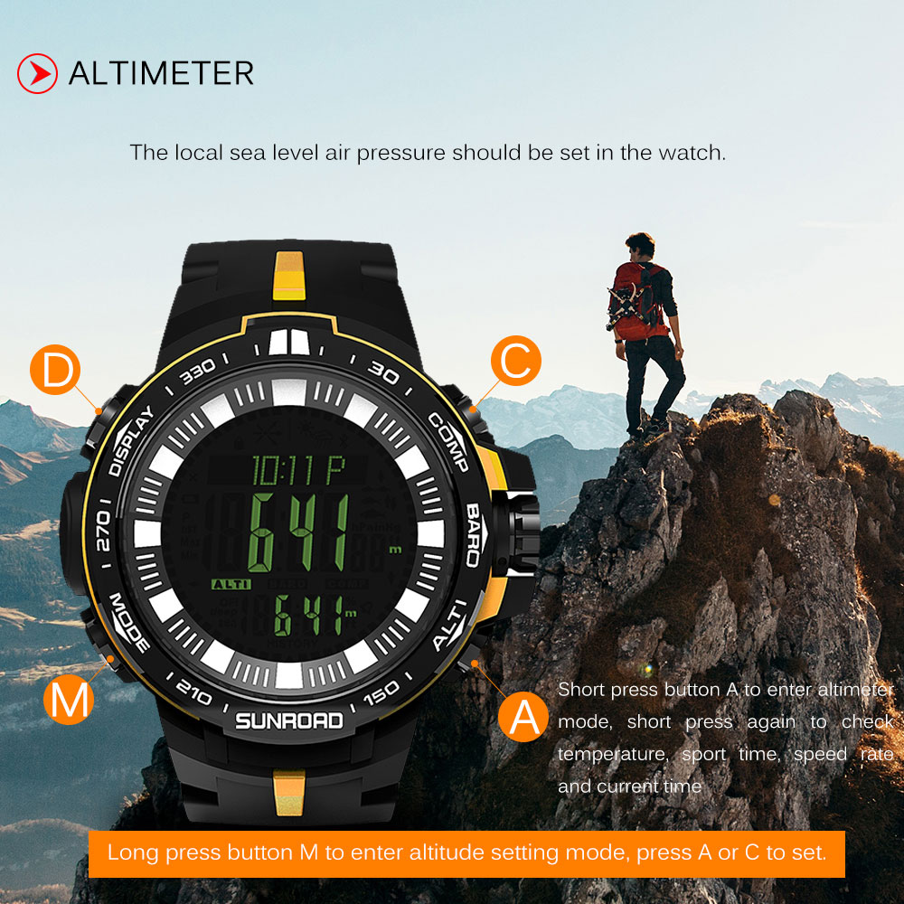 SUNROAD Outdoor Digital Sport Watch Men 5ATM Water Resistant Wristwatch Altimeter Compass Fishing Barometer Watches shifenmei d1148 men s fashionable water resistant zinc alloy wristband digital watch 1 x cr2032