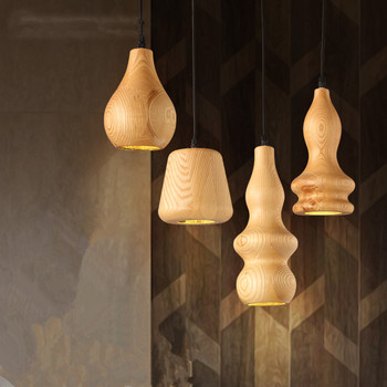 Wooden gourd pendant lightNordic solid wood restaurant bar pendant lights simple modern creative bedside lamp