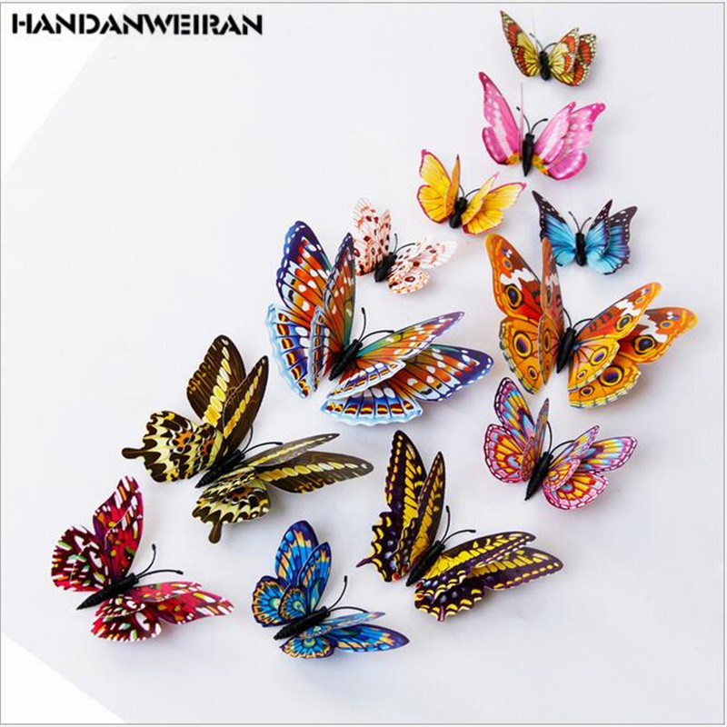 12pcs butterflies for decoration wall stickers Luminous stereo double PVC on the wall 3D BUTTERFLY STICKERS for livingroom in Wall Stickers from Home Garden